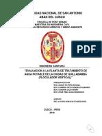 Evaluacion de Floculador Vertical Quillabamba
