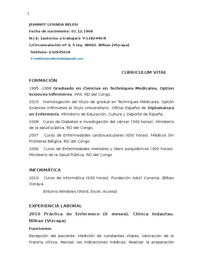 Magnífico Curriculum Vitae De Enfermera De Rehabilitación Aguda ...