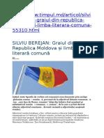 SILVIU BEREJAN Graiul Din Republica Moldova Și Limba Literară Comună