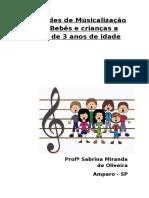 Atividades de Músicalização Para Bebês e Crianças a Partir de 3 Anos de Idade