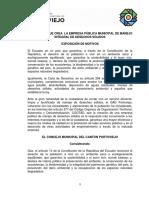 Ordenanza Que Crea La Empresa Pública Municipal de Manejo Integral de Desechos Sólidos