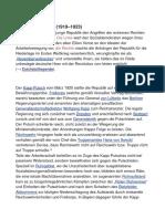Die Geschichte der Weimarer Republik lässt sich nach der Gründungsphase in drei Abschnitte gliedern