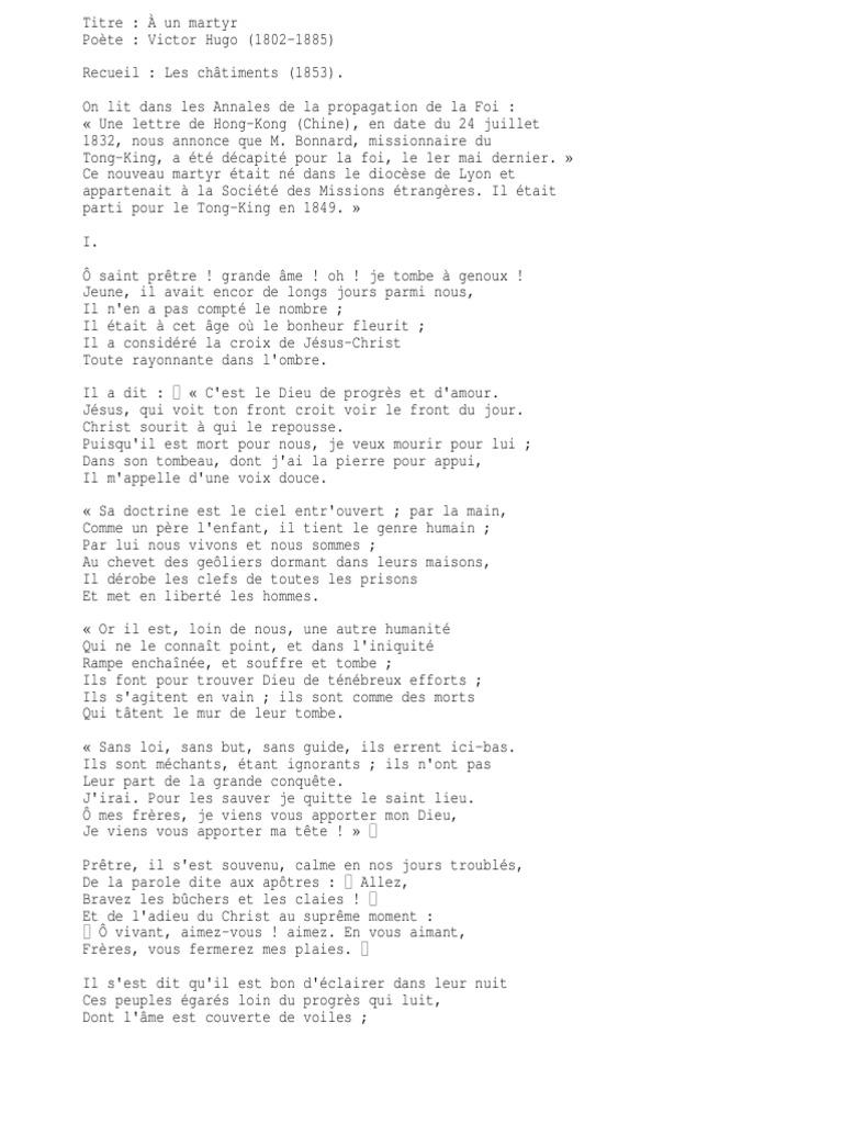 Poeme Victor Hugo A Un Martyr