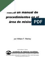 Hacia Un Manual de Procedimientos Area Misiones