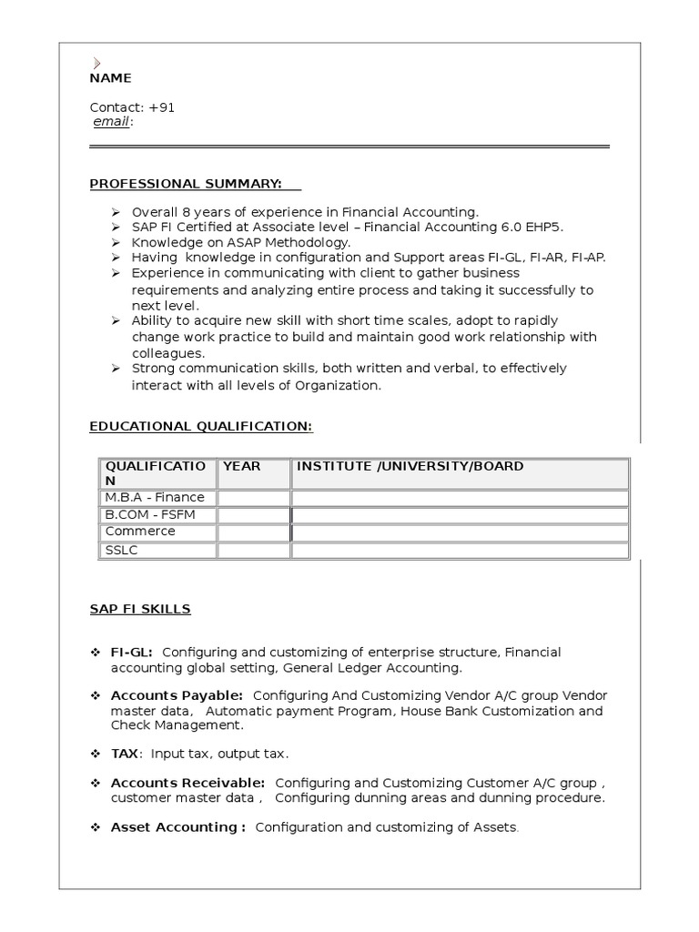 sample sap fi resume 1  sap se  accounting