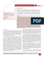 Diabetes Mellitus (DM) is a major public health concern worldwide which can lead to a series of disabling complications and diseases. β-glucans are non-starch polysaccharides that are being used as food additives for their numerous health benefits including the ability to lower the postprandial glucose response. The aim of this study was to determine the effect of substituting β-glucans on the glycemic response and thermal properties of four commonly consumed starches. Oat β-glucans were added at concentration levels of 0%, 10%, 20%, and 30% (w/w) to each of the four starch types. Composite starches were incubated with α-amylase followed by further incubation with amyloglucosidase. Glucose released was measured using the 3, 5-dinitrosalicylic acid (DNSA) method. Incremental Area under the Curve (iAUC) was used to represent the estimated glycemic response of the β-glucan/starch composites. Thermal analysis of the starch composite starches was conducted using a differential scanning calo