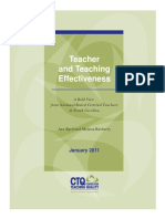 Teachers and Teaching Effectiveness- A Bold View From National Board Certified Teachers in North Carolina