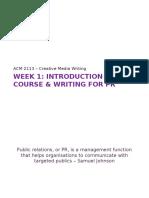 ACM2113 Week 1 - Writing for PR -2014