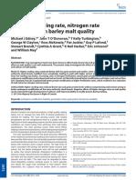 Effects of Nitrogen Rate on Barley Malt Quality