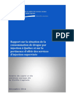 Rapport Sur La Situation de La Consommation de Drogue Par Injection a Quebec Et Sur La Pertinence Doffrir Des Services Dinjection Supervisee Csss Dec2014