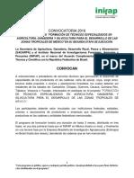 Convocatoria Formacion de Tecnios Especialistas Tropico Humedo