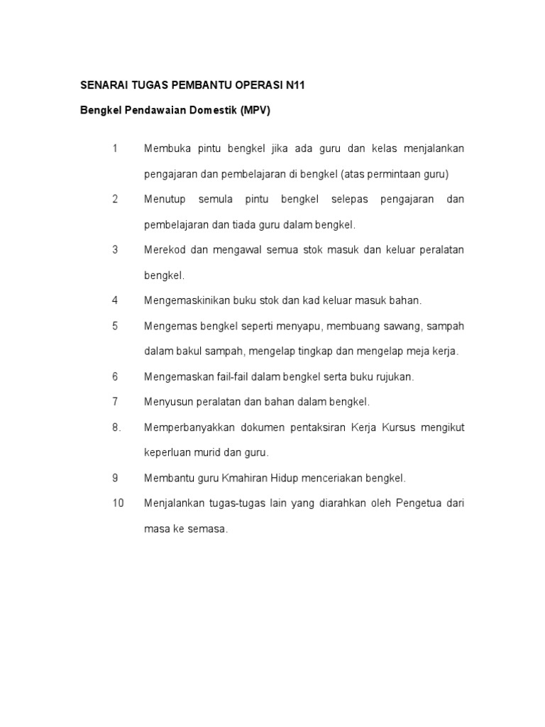 Senarai Tugas Pembantu Operasi N11