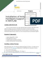 Arduino-MATLAB Hardware Support Package Installation
