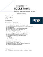 Draft agenda of Oct. 18, 2016 meeting of Middletown Borough Council