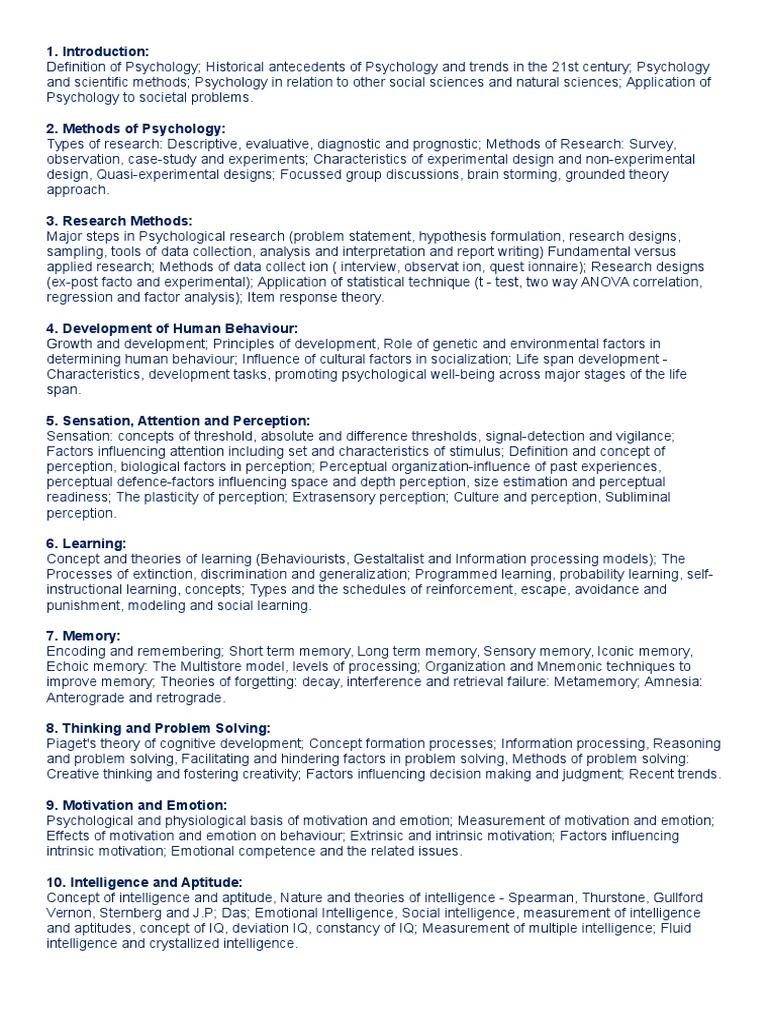 Syllabus psychology upsc intelligence psychology cognitive science altavistaventures Gallery