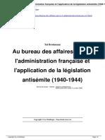 Au Bureau Des Affaires Juives l Administration Fran Aise Et l Application de La l Gislation Antis Mite 1940 1944 a1129