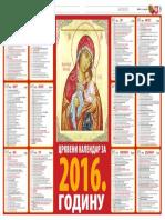 Crkveni kalendar 2016
