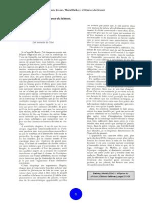 DU HERISSON LELEGANCE PDF TÉLÉCHARGER