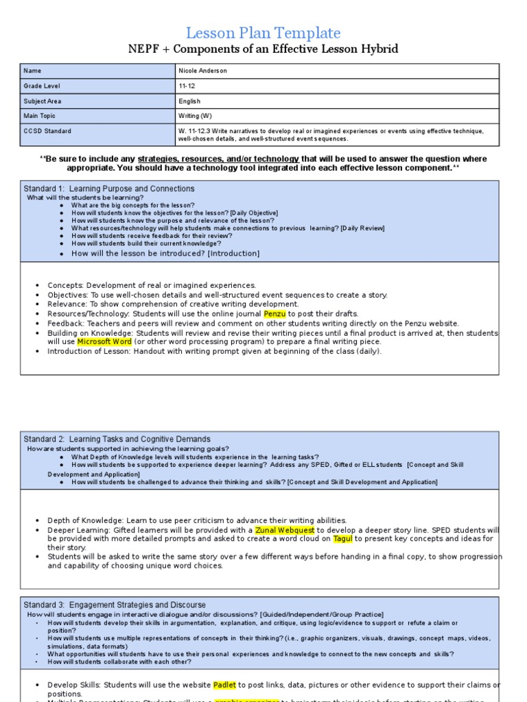 Charming Technology Lesson Plan Template Images Entry Level - Technology integration lesson plan template