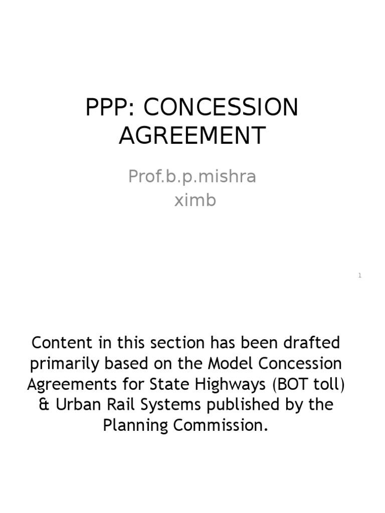Concession Agreement Publicprivate Partnership Loans