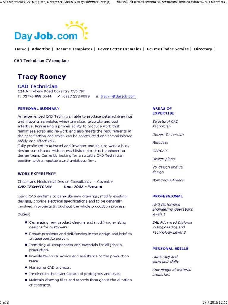 Cad technician cv template computer aided design auto cad yelopaper Image collections