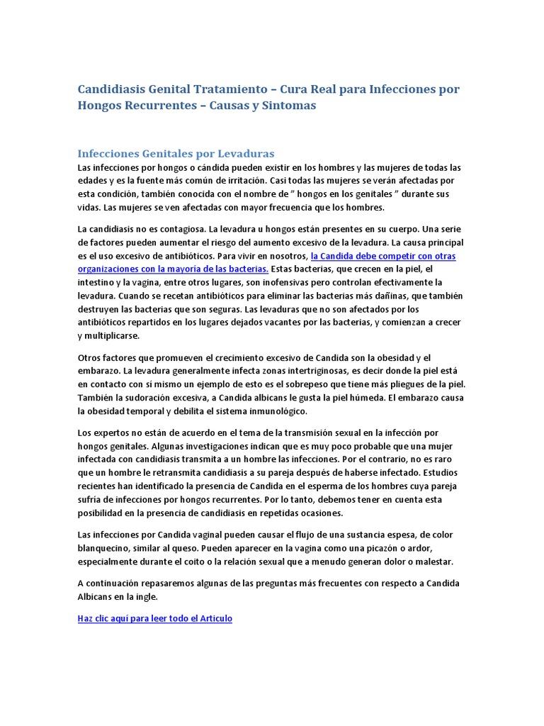 la candidiasis causas sintomas y tratamiento