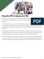 15-10-16 Resalta PRI Trabajo de CPA. - Crítica