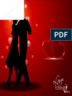 Dancing Couple Silhouette With Hearts on Red Background Vector FyVRD5iO