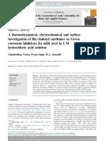 Una Investigación Termodinámica, Electroquímica y La Superficie de Bis (Indolil) Metanos Como Inhibidores de La Corrosión Del Verde Para El Acero Suave en Solución de Ácido Clorhídrico 1 M