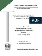 Situacion de Energia Eolica e Hidraulica en México
