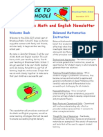 english and math newsletter
