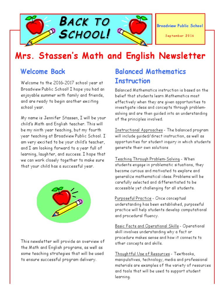 english and math newsletter reading process teaching