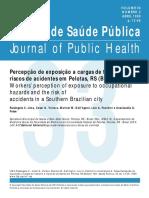 Artigo - Percepção de Exposição a Cargas de Trabalho e Riscos de Acidentes Em Pelotas