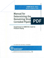Asme b31.g 2012 Manual for Determining the Remaining Strenght of Corroded Pipelines