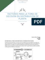 Factores Para La Toma de Decisión Hacía La Distribución de Plantas Tarea