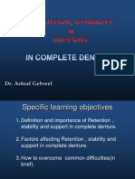 Retention Support Stability CD
