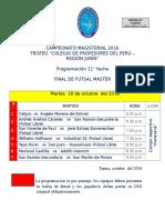 CAMPEONATO MAGISTERIAL 2016 - PROGRAMACIÓN FINAL  FUTSAL MASTER