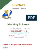 Summary Marking Scheme & Exercise
