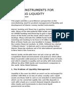Islamic Instruments for Managing Liquidity