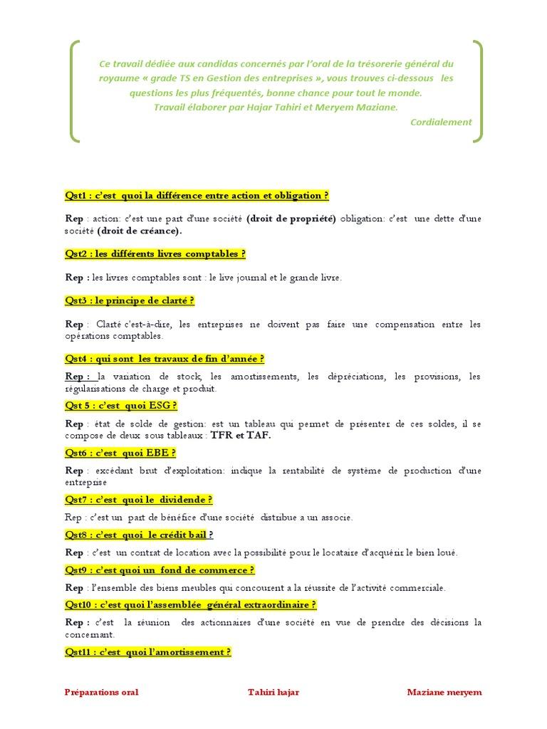 Preparation Pour L Epreuve Orale Du Concours De La Tgr