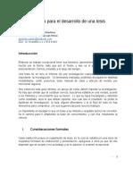 Guía sugerida para el desarrollo de una tesis