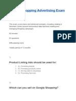 Google Shopping Advertising Exam Answers