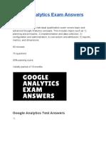Google Analytics Exam Answers