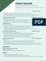 sydney deaver resume 2