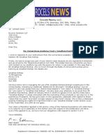 Crocels News LLC's Letter to Cornerstone Academy Trust on behalf of Jonathan Paul Bishop