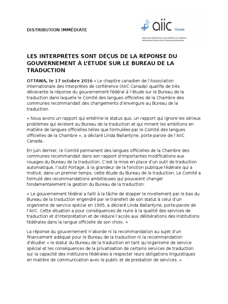Communiqu de presse de lAIIC Bureau de la traduction