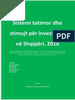 Sistemi Tatimor Dhe Stimujt Për Investimet Në Shqipëri, 2016