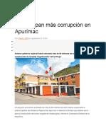 Destapan Más Corrupción en Apurímac