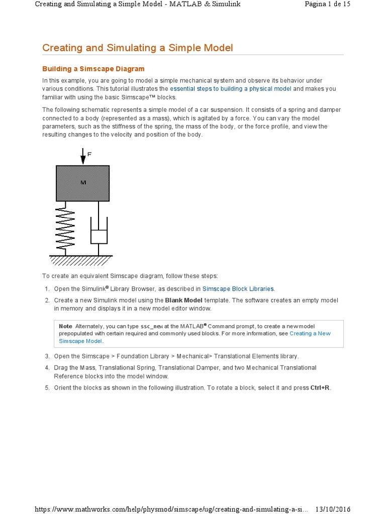 Simscape Mecanico Con Matlab Physics Block Diagram