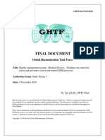 GHTF-Quality management system –Medical Devices – Guidance on corrective action and preventive action and related QMS processes